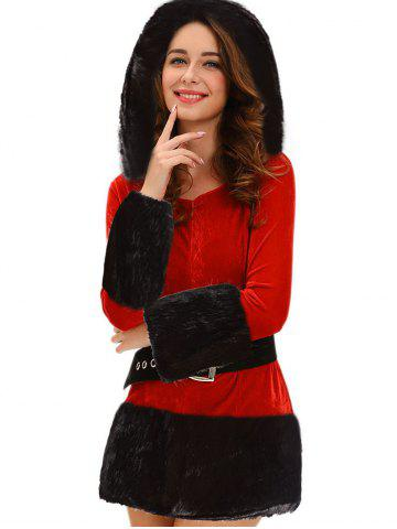 Chic Christmas Costume with Faux Fur Trim RED ONE SIZE