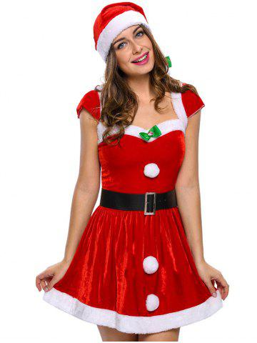 Buy Velvet Christmas Costumes RED ONE SIZE