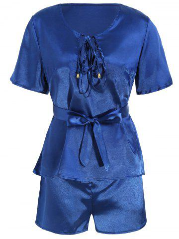 Shops Satin Top with Shorts Pajama Suit - M DEEP BLUE Mobile