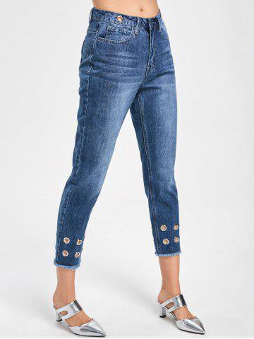 Chic Grommets Decorated Raw Hem Capri Jeans - L DENIM BLUE Mobile