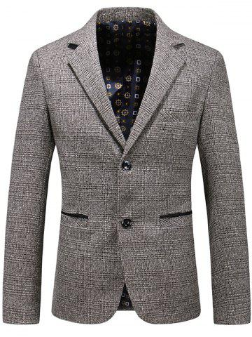 New Casual Lapel Single Breasted Plaid Blazer KHAKI M