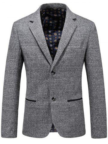 Buy Casual Lapel Single Breasted Plaid Blazer GRAY 2XL