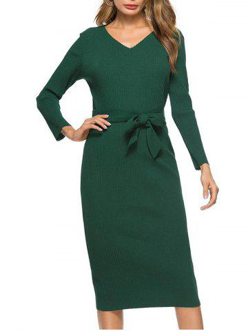 Discount V Neck Bowknot Belt Knit Dress - M GREEN Mobile