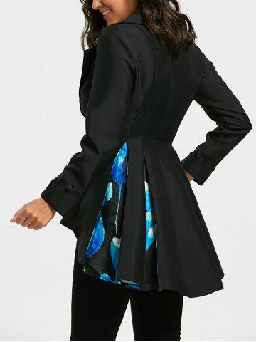Store Floral Print High Low Skirted Blazer - L BLACK Mobile