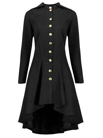 Discount Hooded Plus Size High Low Lace Up Coat - 5XL BLACK Mobile