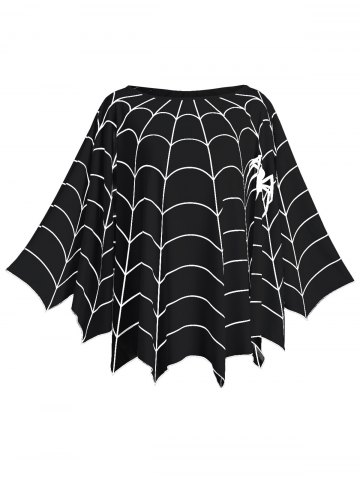 Sale Halloween Spider Web Plus Size Poncho Blouse
