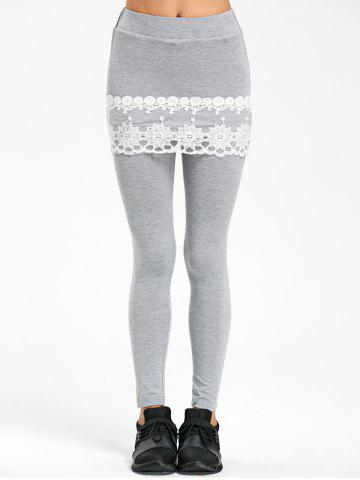 Outfit Lace Trim Marled Skeggings - M GRAY Mobile