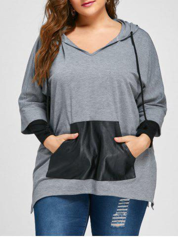 Trendy Plus Size Kangaroo Pocket Side Split Hoodie - 5XL GRAY Mobile