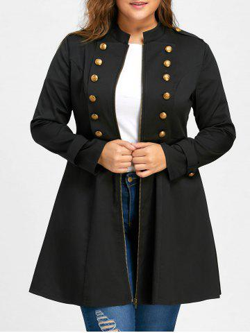 Best Plus Size Double Breasted Epaulet Flare Coat BLACK 4XL