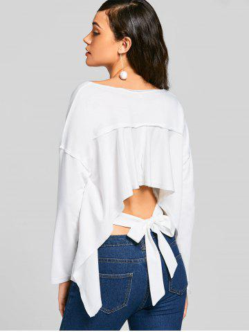 Shop Bow Tied Cut Out Asymmetrical Sweatshirt WHITE S