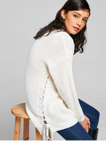 Sale Chunky Lace-up Tunic Sweater - ONE SIZE OFF-WHITE Mobile