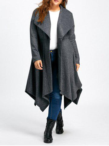 Store Long Handkerchief Plus Size Wool Coat - 4XL GRAY Mobile