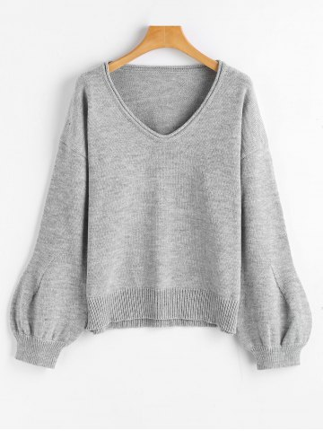 Store V Neck Lantern Sleeve Oversized Sweater