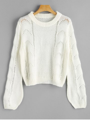 Buy Cut Out Lantern Sleeve Pullover Sweater
