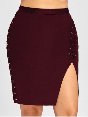Fancy Plus Size High Waist Slit Criss Cross Bodycon Skirt