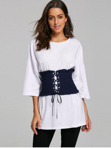 Drop Shoulder Tunic T-shirt with Corset Belt