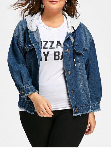 Best Button Up Plus Size Frayed Hem Hooded Denim Jacket