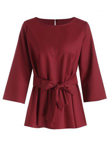Wine Red 3xl Plus Size Self Tie Dressy Blouse With Belt Rosegal Com