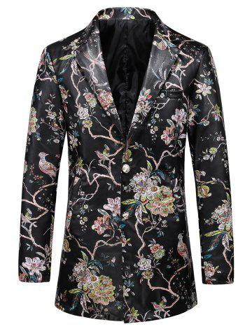 Online Single Breasted Floral Faux Leather Blazer