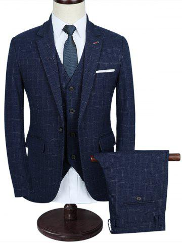 Best Windowpane Slim Fit Three Piece Business Suit