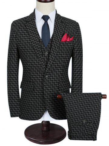 Zigzag Pattern One Button Three Piece Business Suit