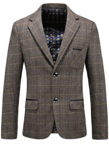Fancy Single Breasted Chest Pocket Checked Blazer