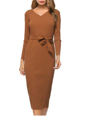 Trendy V Neck Bowknot Belt Knit Dress