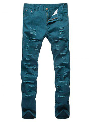 Best Distressed Zipper Fly Straight Leg Pants