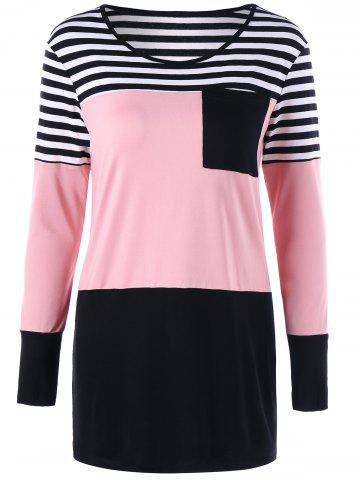 Color Block Striped Tunic T Shirt