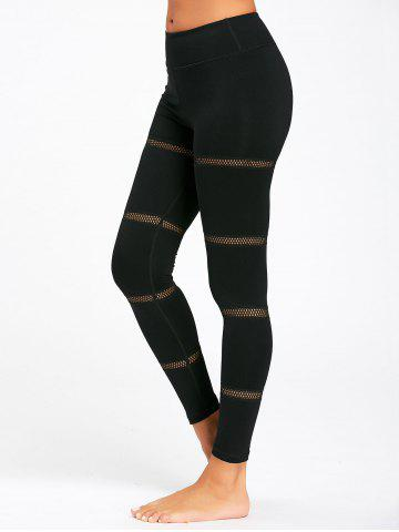 Chic Openwork  Midi Waist Yoga Mesh Panel Leggings