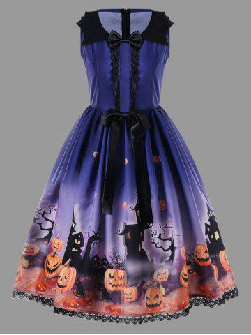 Store Halloween Plus Size Bowknot Decorated 50s Swing Dress