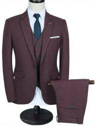 Contrast Chest Pocket Three-piece Business Suit - WINE RED 2XL