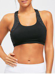 U Neck Removable Sports Padded Bra - BLACK S