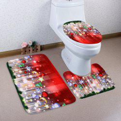 Christmas Decoration 3Pcs Bath Toilet Rugs Set - Red