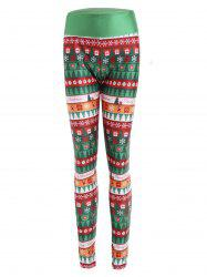 Christmas Print Wide Waistband Fitted Leggings -