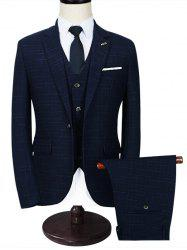 Slim Fit Checked Three Piece Business Suit - BLUE 2XL