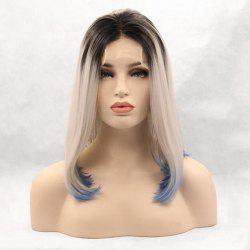 Medium Middle Part Ombre Colormix Straight Lace Front Synthetic Wig -