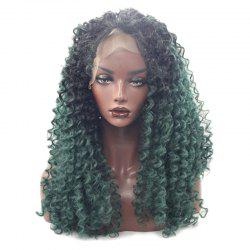 Long Free Part Fluffy Afro Deep Curly Lace Front Synthetic Wig - COLORMIX