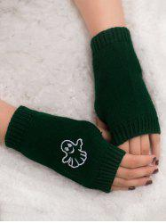 Halloween Ghost Embroidery Exposed Finger Knitting Gloves - BLACKISH GREEN