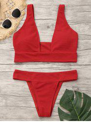Plunging Neckline Low Waist Bikini - RED S