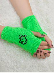Halloween Ghost Embroidery Exposed Finger Knitting Gloves -