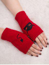 Halloween Devil Embroidery Exposed Finger Knitted Gloves -