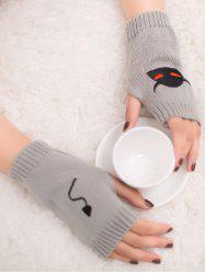Halloween Devil Embroidery Exposed Finger Knitted Gloves - LIGHT GRAY