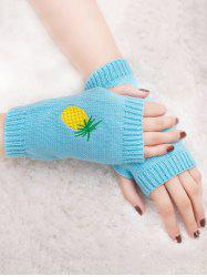 Halloween Pineapple Embroidery Exposed Finger Knitted Gloves - LIGHT BLUE