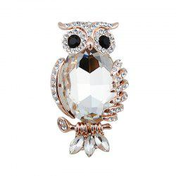 Sparkly Rhinestoned Faux Gem Owl Brooch - WHITE