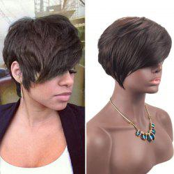 Short Inclined Fringe Layered Straight Synthetic Wig - BROWN