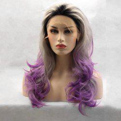 Long Free Part Ombre Layered Wavy Lace Front Synthetic Wig -