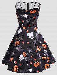 Halloween Ghost Pumpkin Print Plus Size Dress -