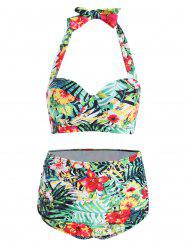 Ensemble de bikini tropical trop grand taille - Multicolore 3XL