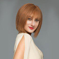 Short See-through Fringe Straight Blunt Bob Human Hair Wig -